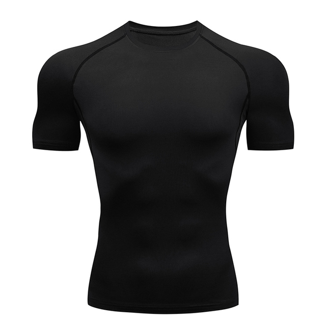 Compression Quick dry T-shirt Men Running Sport Skinny Short Tee Shirt Male Gym Fitness Bodybuilding Workout Black Tops Clothing 1