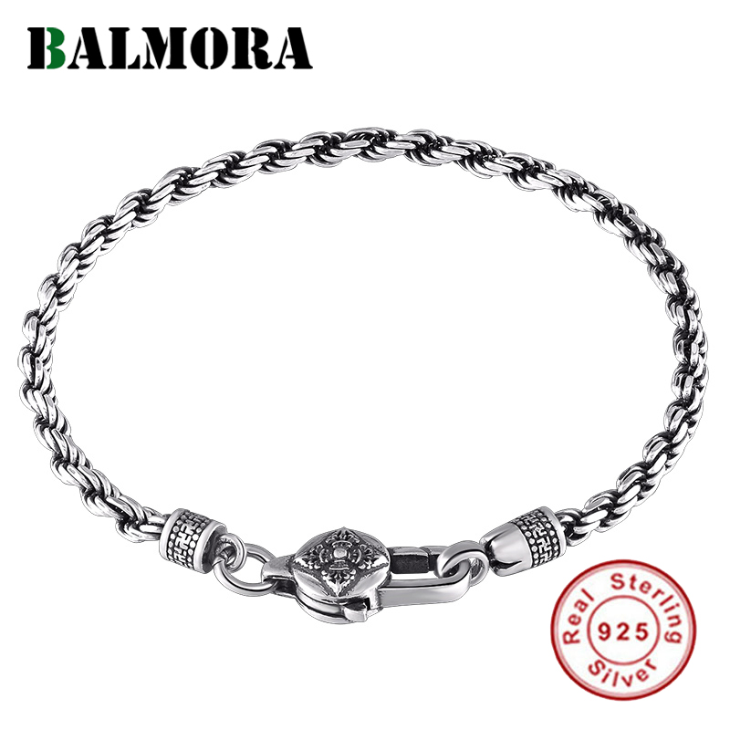 BALMORA Solid 925 Sterling Silver Vajra Six Word's Sutra Weaving Bracelet For Women Men Simple Vintage Fashion Vintage Jewelry