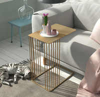Luxury gold Creative wrought iron coffee table modern minimalist small table bedroom bedside table sofa side corner