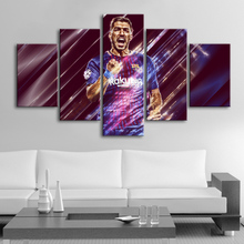 HD 5 Pieces Suarez Posters Barcelona Football Canvas Paintings Wall Art Prints Pictures Boys Sports Bedroom Decoration Frame