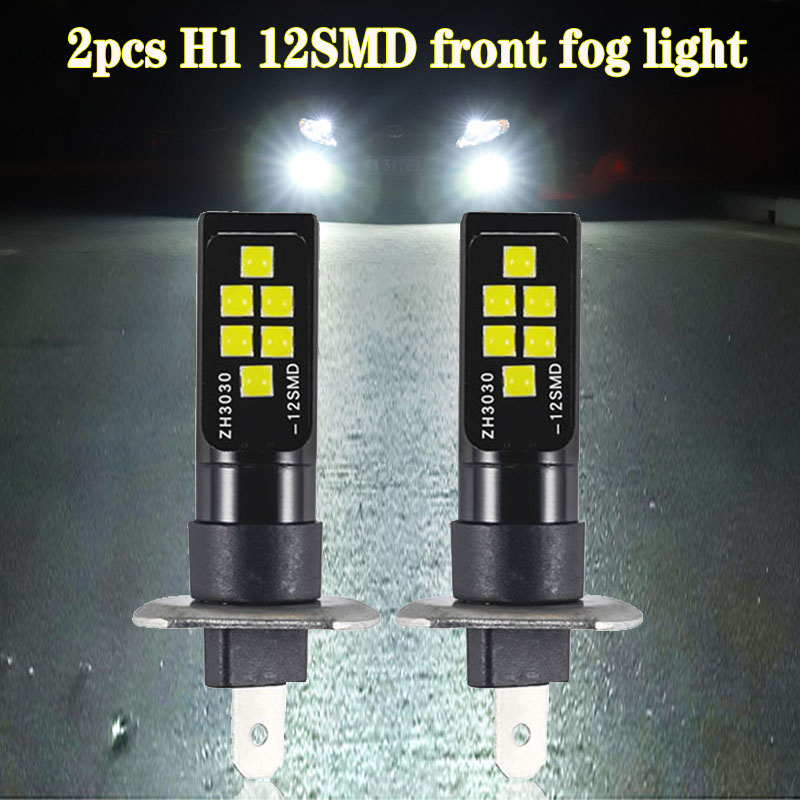 2pcs H3 LED Bulb 3030 SMD 6000K White Car Fog Light High-Bright DRL Driving Lamp