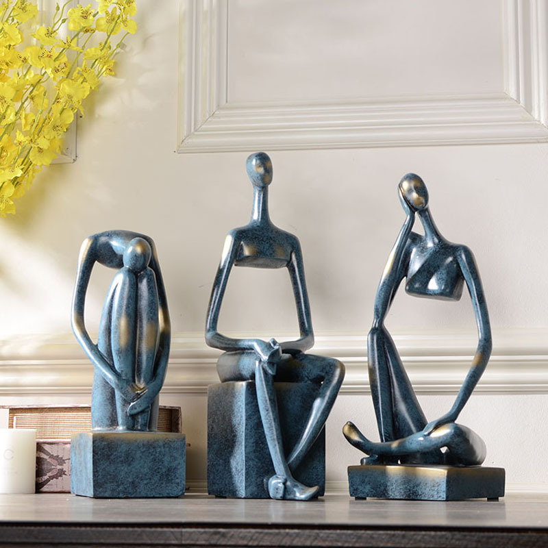 Abstract Figure Art Sculpture American Personality Arts Girl Statue Resin Craft Home Decoration Living Room Office R3092