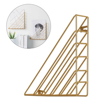 Creative Nordic Iron Wall Mounted Storage Rack Magazine Book Rack Multifunctional Triangle Display Stand Office Decorative Rack