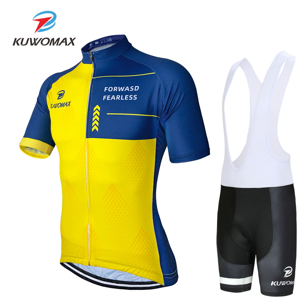 2020 NEW KUWOMAX Cycling Jersey Set Bib Shorts Men's Cycling Clothing Short Set Bike Wear Road Road 9D Gel pad. image