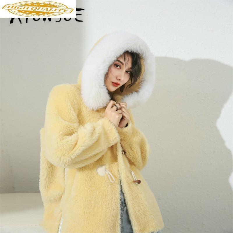 Autumn Winter Coat Women Clothes 2019 Sheep Shearing Real Fur Coat 100% Wool Jacket Women Korean Fashion Fur Tops 19019 YY2090