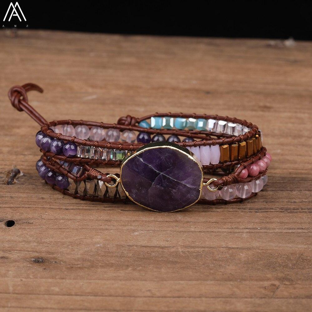Natural ametistas quartzo encantos contas 3 camadas de couro wrap pulseira feminina 3 fios contas atadas artesanal pulseira n0547amch