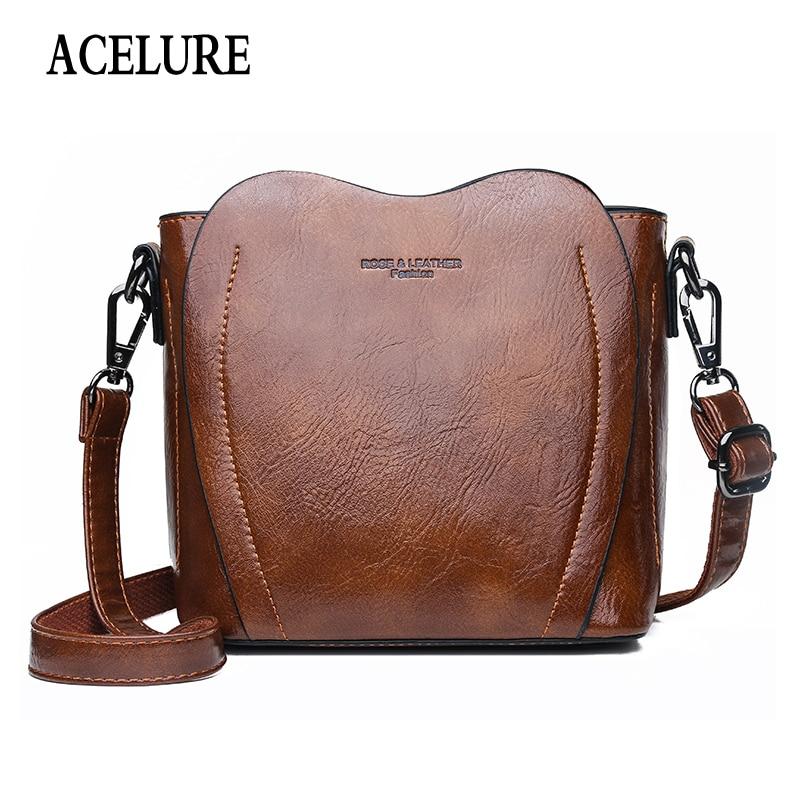 Fashion Casual Vintage Handbags Women's Pu Leather Shoulder Bag Retro High Quality Hand Bag Woman Brown Messenger Bag ACELURE