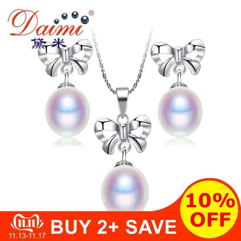 Daimi preto com branco pérola bowknot pérola define 925 prata conjuntos de jóias românticas presentes de jóias finas