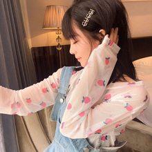 2021 ins malha superior fino all-match fino protetor solar manga longa base camiseta kawaii roupas gráfico tshirt dos desenhos animados tshirts para mulher