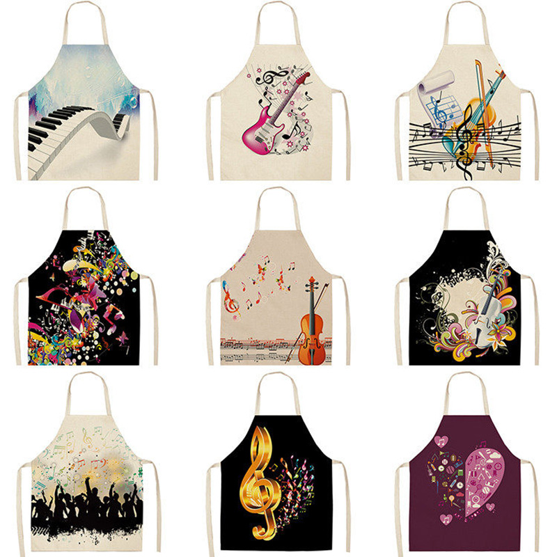 1Pcs Musical Note Pattern Kitchen Aprons For Woman And Man Dinner Party Cooking Cotton Linen Bibs Cleaning Tools 53*65cm C1083
