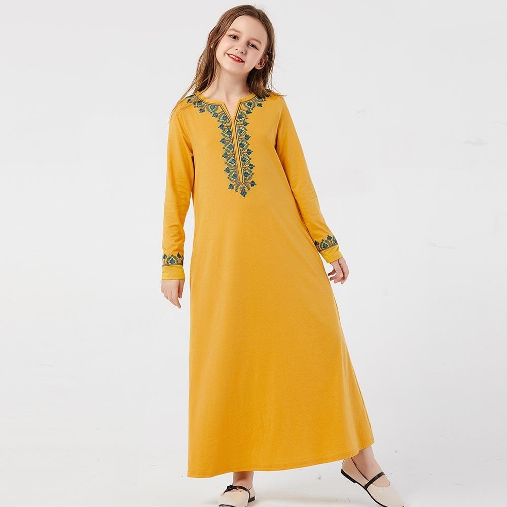 Muslim Girls Dress Sweat Spring Kids Moroccan Abaya Dresses Children Islamic Clothing Dubai A-line Elbise Vestido Kaftan Yellow