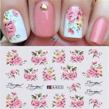 2 Pcs Nail Stickers Water Transfer Decals Pink Flower Design DIY Nail Art Charm Decorations Tips Manicure Tools Accessories 20pcs lot nail art stickers diy 3d nail tips design water transfer foil glitter decals manicure nail decoration tools stickers
