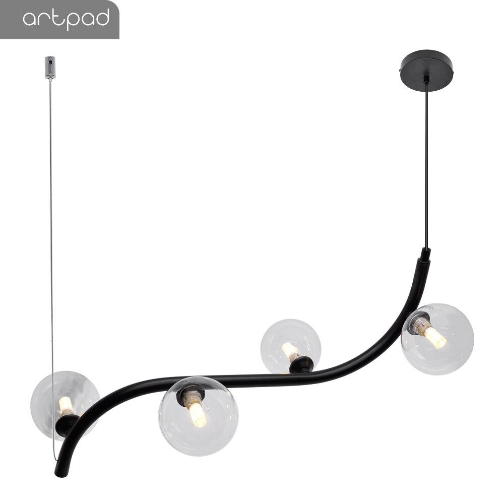 Artpad Nordic Minimalist LED Dining Room Pendant Light Wire Rope Hanging Lamp AC110 220V Bar Restaurant Black Pendant Lamps