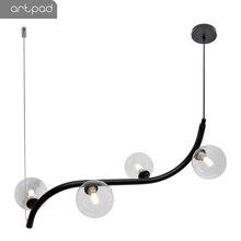 Artpad 북유럽 미니멀리스트 led 다이닝 룸 펜던트 라이트 와이어 로프 교수형 램프 ac110 220 v 바 레스토랑 블랙 펜던트 램프