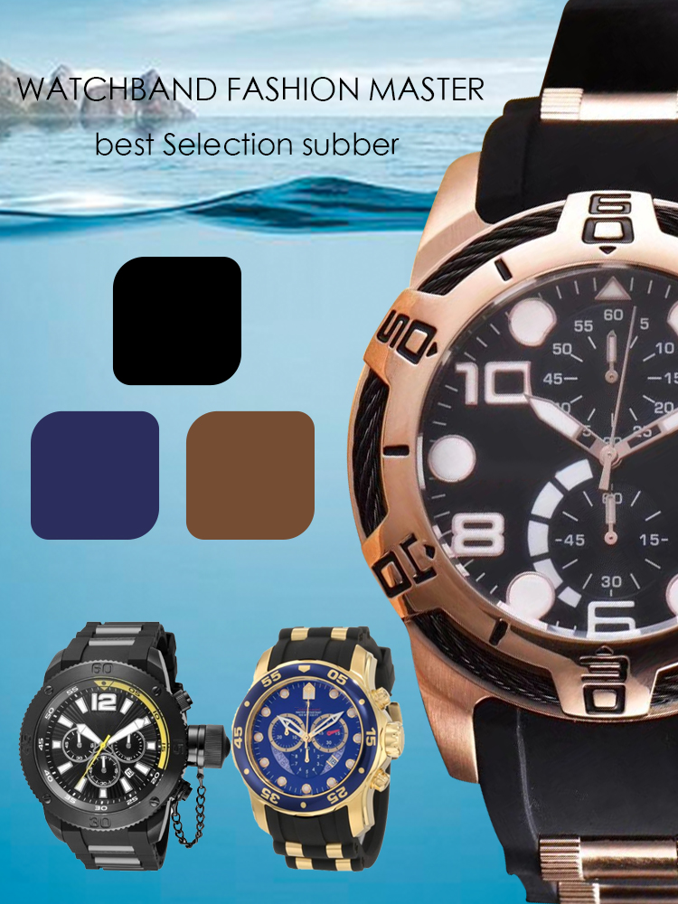 26mm Bature Silicone Rubber Watchband Wristband Watch Bracelet Band No Buckle For Invicta Noma Strap Pro/Diver 6981 Subaqua 28mm