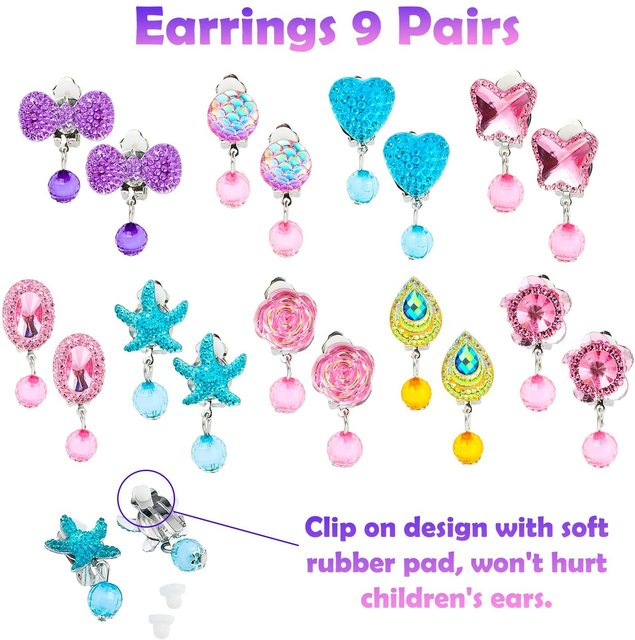 62Pcs Jewelry Accessories Princess Jewelry Pretend Dress Up Necklaces Rings Earrings Jewelry Sets for a Beautiful Girls 5
