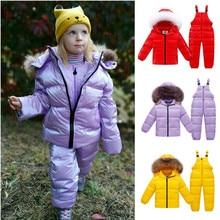 2019 חדש מותג חורף סרבל לילדים בגדי 2 8Y חורף מעילי בני אדום חדש שנה ברווז למטה מעיל ילדה חליפת שלג parka