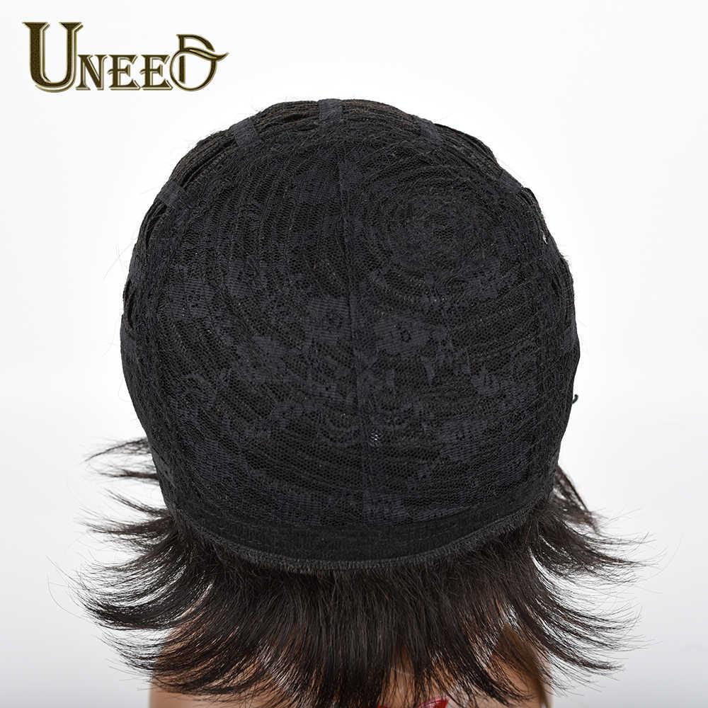 Uneed włosów 130% gęstość peruka z krótkim bobem brazylijski kręcone ludzkie włosy peruki dla kobiet naturalne czarne włosy inne niż remy darmowa wysyłka