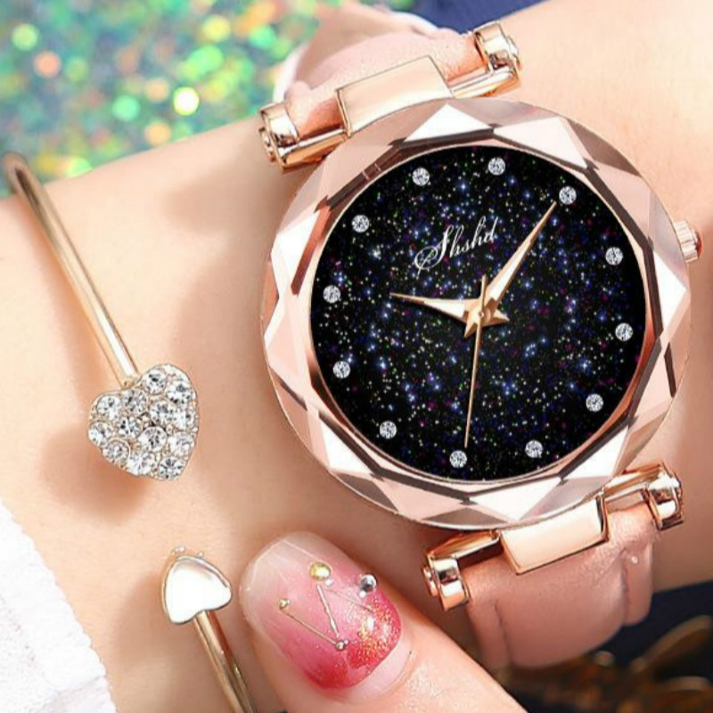 Fashion Top Brand Luxury Starry Sky Women Wrist Watches Leather Quartz Clock Modern Wristwatch Women Orologio Donna D7