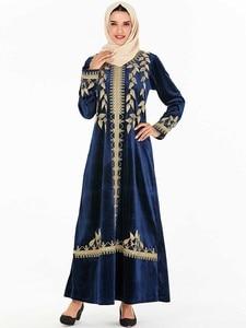 Image 5 - בתוספת גודל אלגנטי המוסלמי חיג אב שמלת נשים דובאי הערבי Pleuche ארוך שרוול העבאיה שמלת קימונו תורכי Jubah בגדים אסלאמיים 4XL