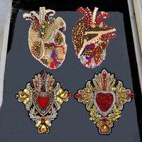 Стразы ручной работы в форме сердца, украшенные бисером, нашивки с кристаллами, нашивки с блестками для одежды, нашивки с цветочной аппликац...