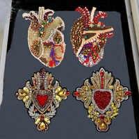 Patchs en cristal de perles de coeur en strass faits à la main coudre sur un Patch de paillettes pour vêtements Badge fleur Applique Patch mignon 1pc TH1685