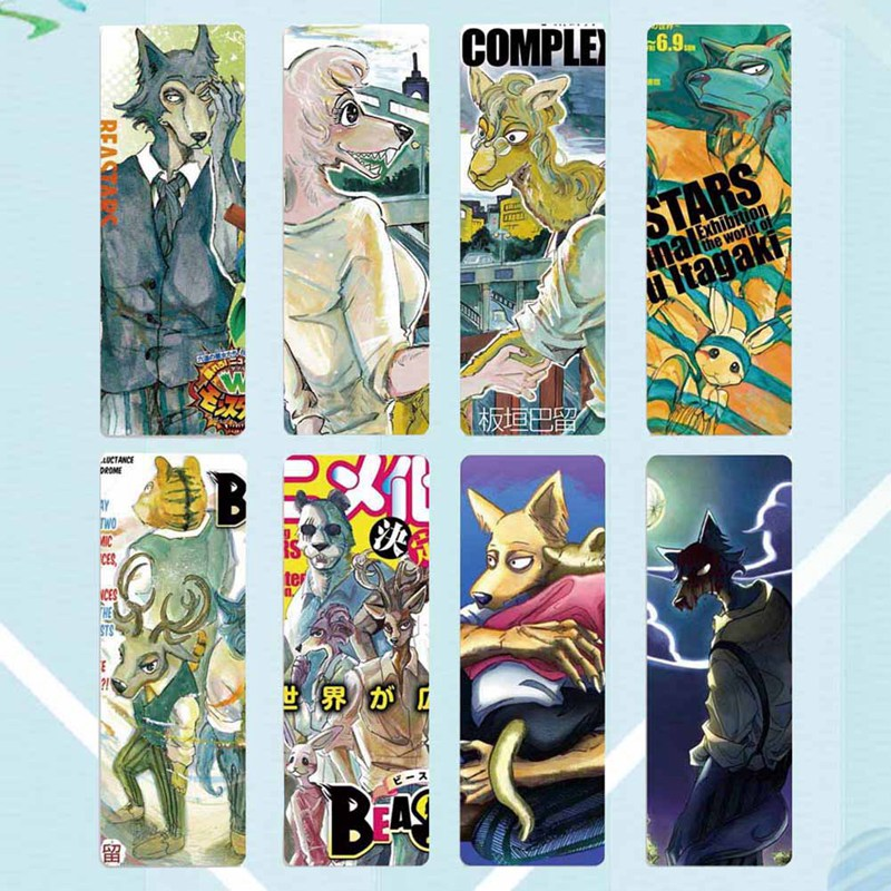 8pcs/set Cute Anime BEASTARS Paper Bookmark Japanese Style Book Marks For Student School Stationery Supplies