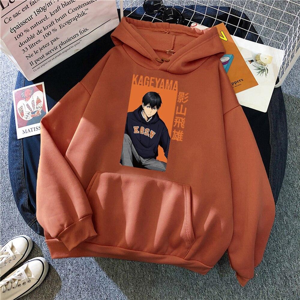 Haikyuu kageyama tobio Anime Print Men Hoodie Autumn Winter Warm Hoody Loose Fleece New Pullovers Street Loose Man Sweatshirts