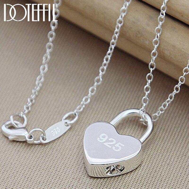 DOTEFFIL 925 Sterling Silber Platz/Heart Lock Anhänger Halskette Mit Original Logo 18 zoll Kette Für Frauen Hochzeit Engagement