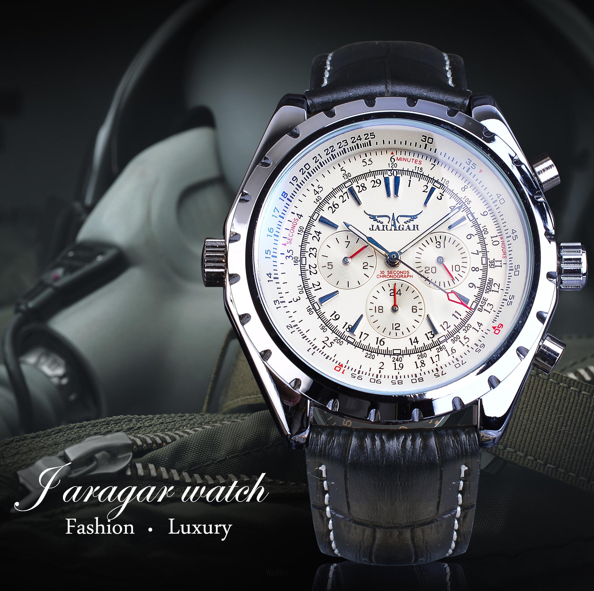 Jaragar 2020 Blue Glass Aviator Series Military True Men Sport Automatic Wrist Watch Top Brand Luxury Mechanical Male Clock Hour 2