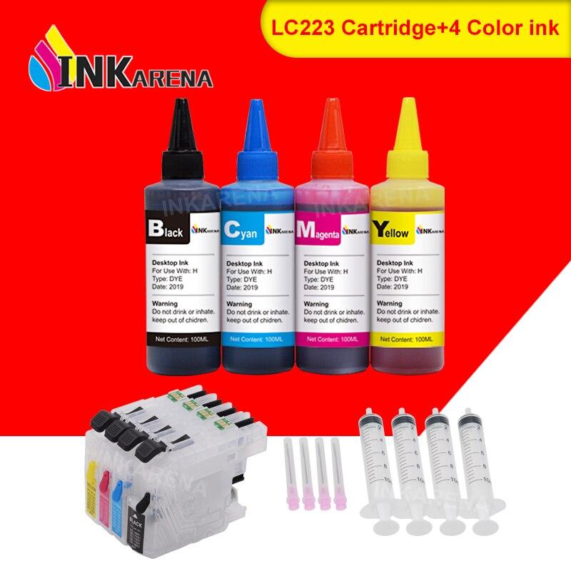 INKARENA LC 223 XL Printer Ink Cartridges For Brother LC221 LC225 LC227 LC229 + 400ml Bottle Ink MFC-J5320DW J5620DW J5625DW
