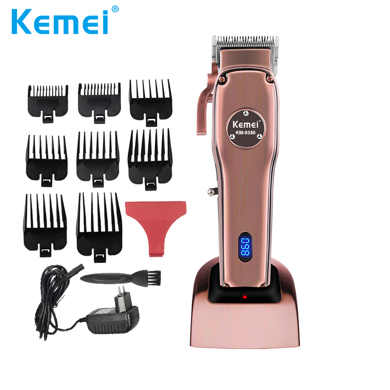 Kemei Cordless Rechargeable Hair Clipper LED Display Powerful Men Electric Hair Trimmer Hair Cut Grooming Kit