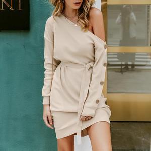 Image 4 - Misswim 캐주얼 니트 풀오버 스웨터 드레스 여성 우아한 한 어깨 새시 가을 겨울 드레스 숙녀 느슨한 미디 드레스 2019