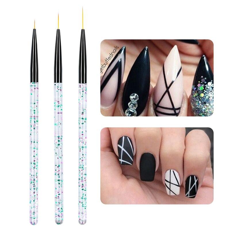 3 Pcs/Set Nail Painting Brush Liner Brush Nail Drawing UV Gel Pen Glittering Colorful Sequins Clear Handle Nail Art Tools