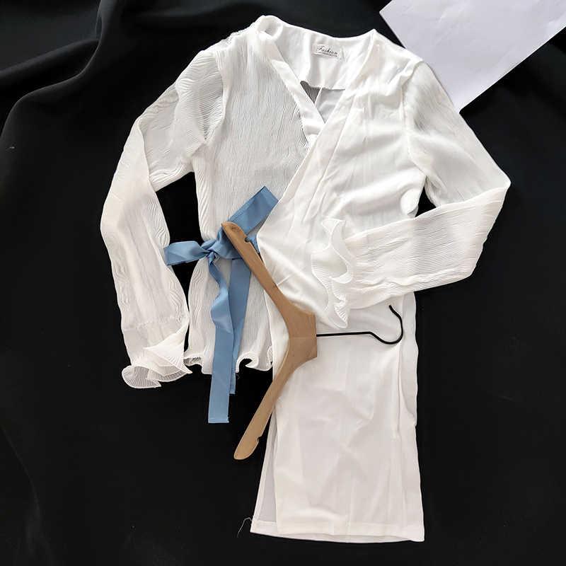 白不規則な女性のシフォンブラウスファッションパッチワーク V ネック Blusas 付きエレガントなオフィスレディロングスリーブカーディガン