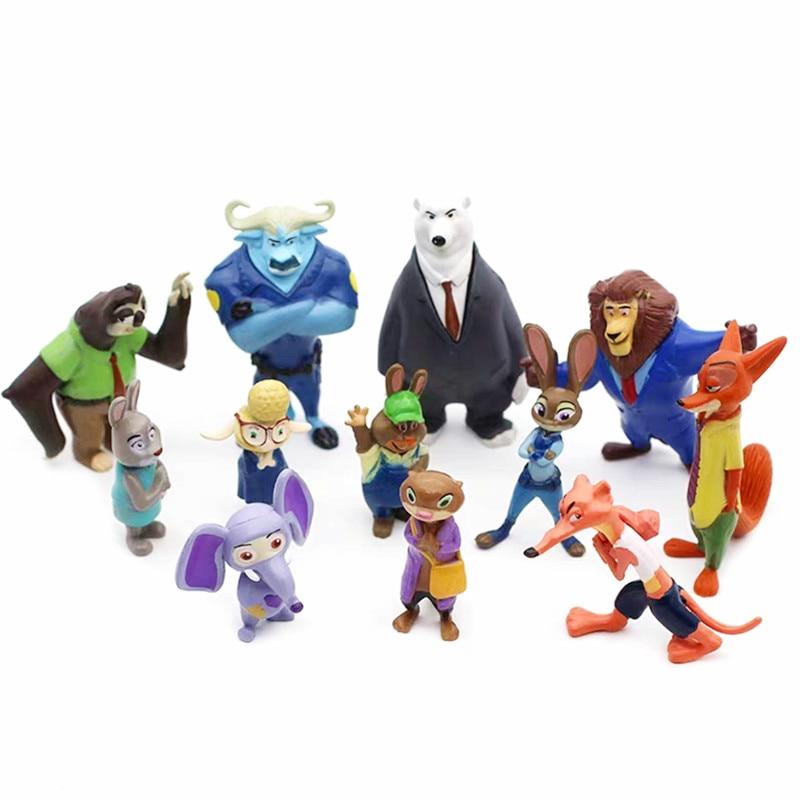 12Pcs/Set Disney Pixar Zootopia Cartoon Anime Figure Nick Fox Judy Zootropolis Utopia Animal Model Toys Dolls Kid Birthday Gift|Action & Toy Figures| - AliExpress