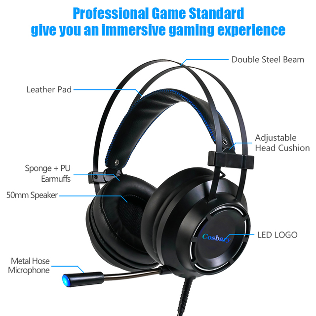 Cosbary Gaming headphone with Microphone USB Wired Earphone 7.1 Surround Sound Game Headset for PC PS4 Xbox One 2