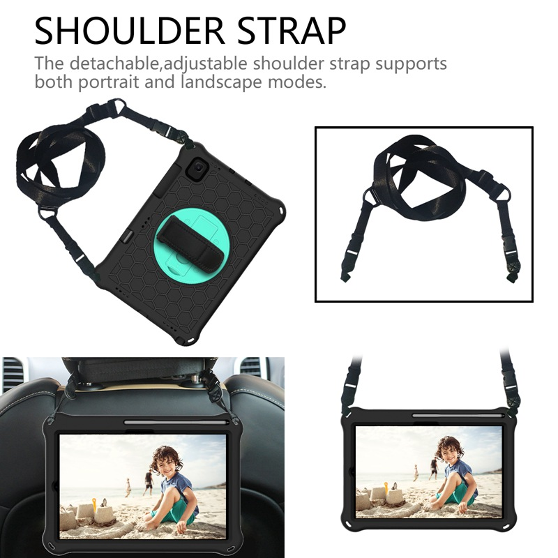 """For Samsung Galaxy Tab S5E 2019 SM-T720 T725 Case S5 E 10.5"""" Pencil Holder Bags Funda Tablet Stand Shell & Neck Strap Kids Coque-5"""