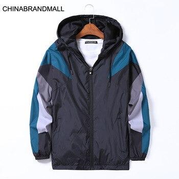 Autumn Men Plus Fat Plus Size Coat Young Men Fat Man Leisure With Cap Spell Color Jacket Windbreaker