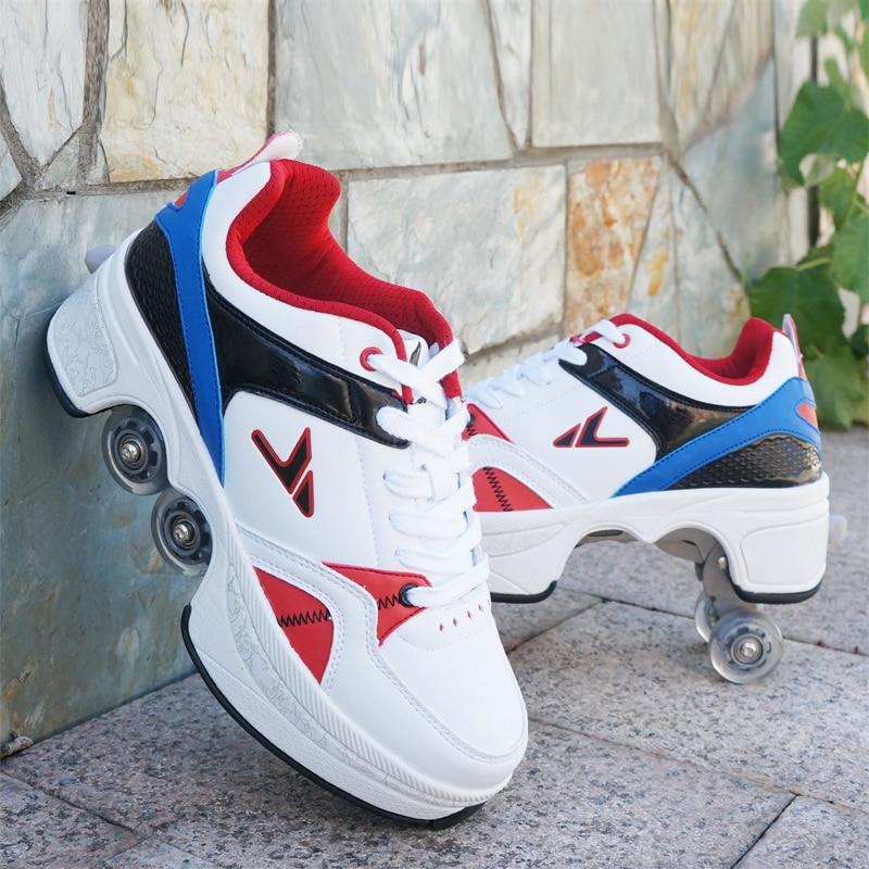 Hot Schoenen Casual Sneakers Lopen + Skates Vervormen Wiel Skates voor Volwassen Mannen Vrouwen Unisex Paar Childred Weggelopen Schaatsen Vier wielen - 4