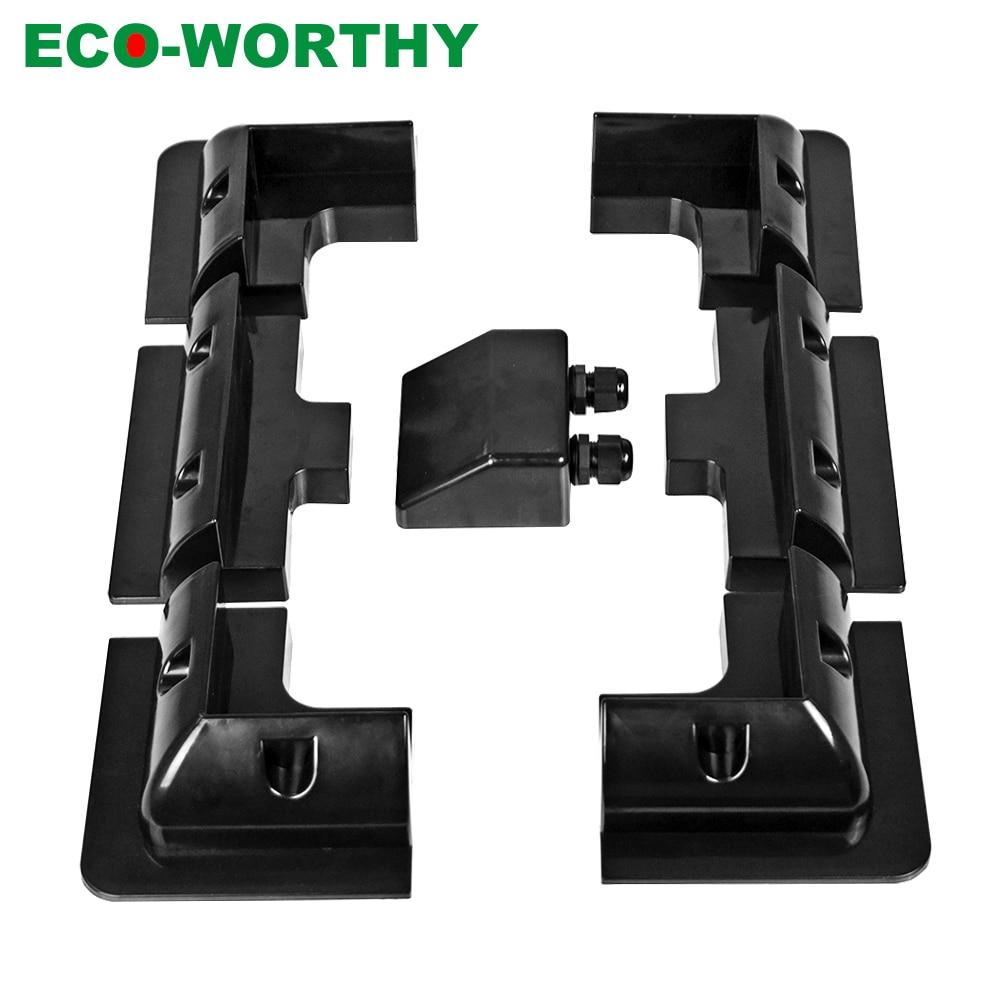 ECOWORTHY  Solar Panel Bundling Kit ABS Black Plastic Bracket Or Z Mounting Brackets Solar Panel Stand Frame Set Camping RV Boat