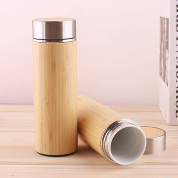 Natural Bamboo Thermos Cup Ceramic Bottle Vacuum Flasks Thermoses For Travel Brewer Portable Camping 350/450ML 12 Hours Tea Cup 1