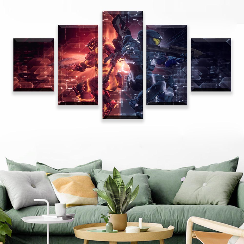 Wall Painting Canvas 5 Piece Prints Posters Halo 5 Guardians Video Game Red vs Blue Modular Wall Art Home Decor Art Picture image