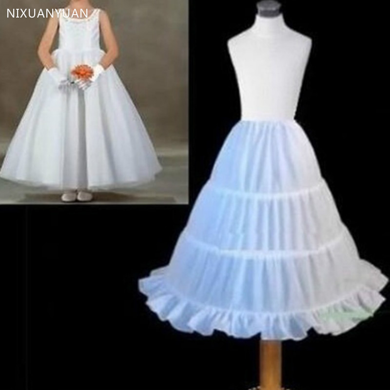 3 Hoops White A-Line Skirt 2020 Top Quality Petticoat Child Made Flower Girl Dress Puffy Child Underskirt Elastic Waist
