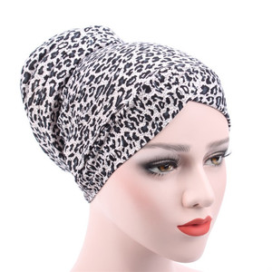 Image 2 - New Arrival Muslim Turban Chemotherapy Hat Back Disc The Head Cap Cotton Floral Print Inner Hijabs Bandage Headwear For Women