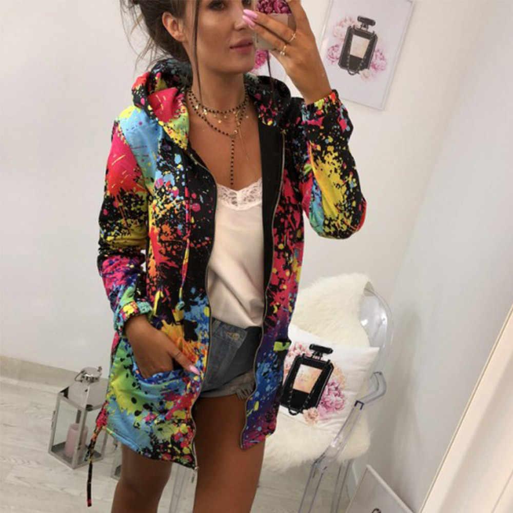 上着 & フード付きジャケット女性のファッションウインドブレーカーネクタイ染色印刷の基本的なジャケット女性生き抜くコートボンバージャケット
