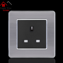 13A European Wall Socket Outlet 86 Type UK Standard Charger Adapter Stainless Steel Panel Kitchen Bedroom Plug Sockets