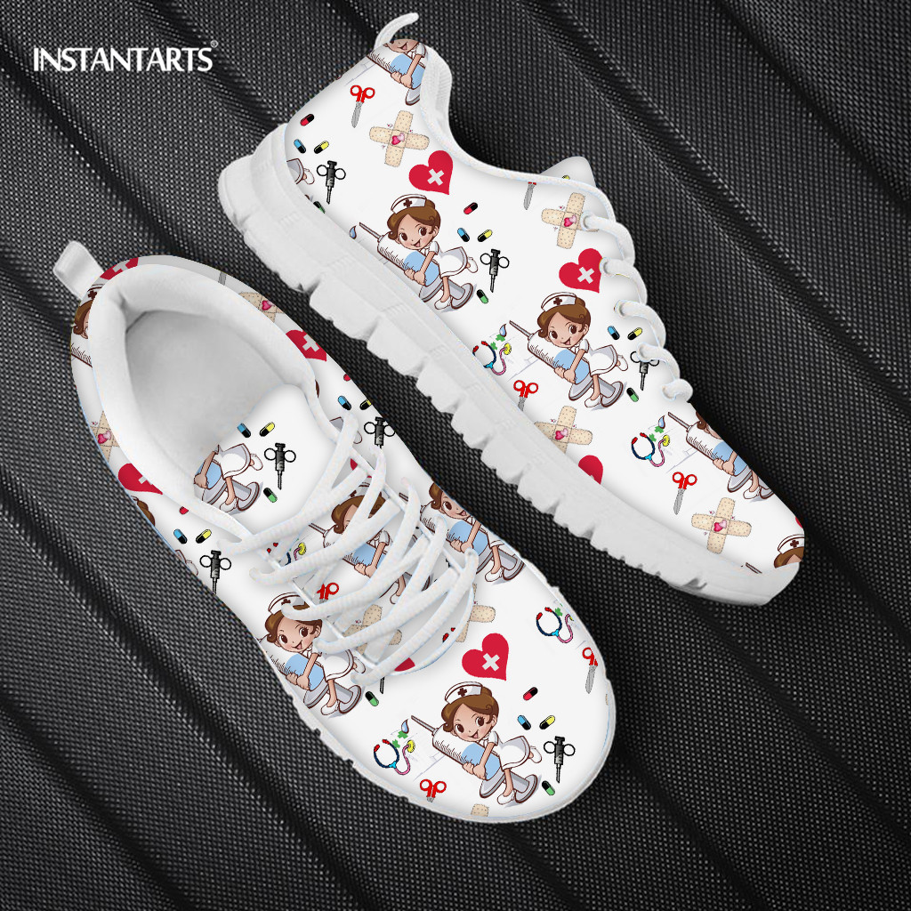 INSTANTARTS Hospital Nurse Design <font><b>Women</b></font> Flats Casual Lace Up Sneaker <font><b>Women's</b></font> Comfortable Nursing <font><b>Shoes</b></font> Brand Sneaker Light image