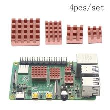 4pcs/set Metal Copper Heatsink Passive Cooling Pad Radiator for Raspberry Pi 4B