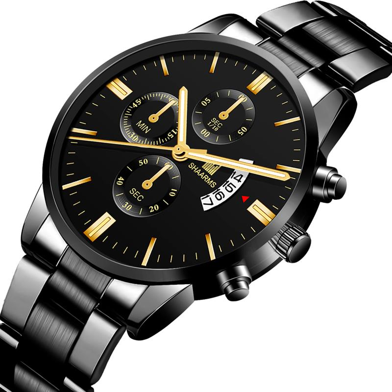 2019 Men Luxury Business Quartz Watches Stainless Steel Mens Military Waterproof Wristwatch Man Calendar Clock Shaarms Watch Hot